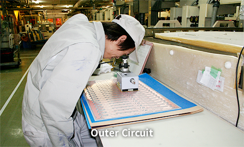 Production process of the outer layer circuit